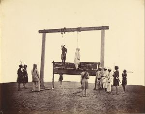 The hanging of two participants in the Indian Rebellion, Sepoys of the 31st Native Infantry. Albumen silver print by Felice Beato, 1857 (wikipedia)
